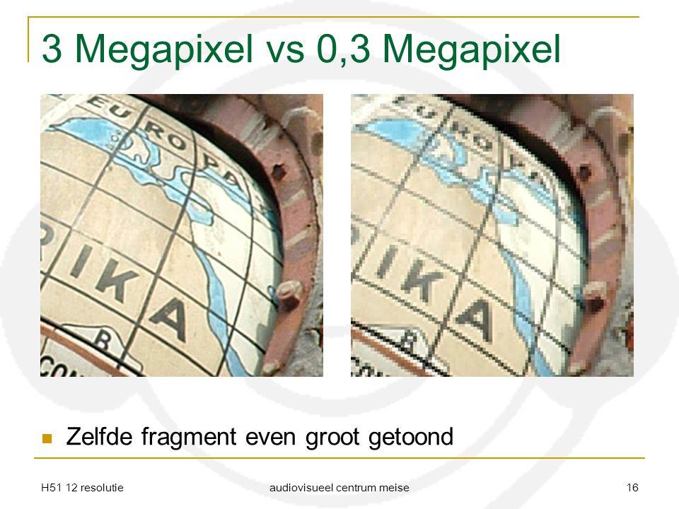 H51 12 resolutie audiovisueel centrum meise 16 3 Megapixel vs 0,3 Megapixel Zelfde fragment even groot getoond