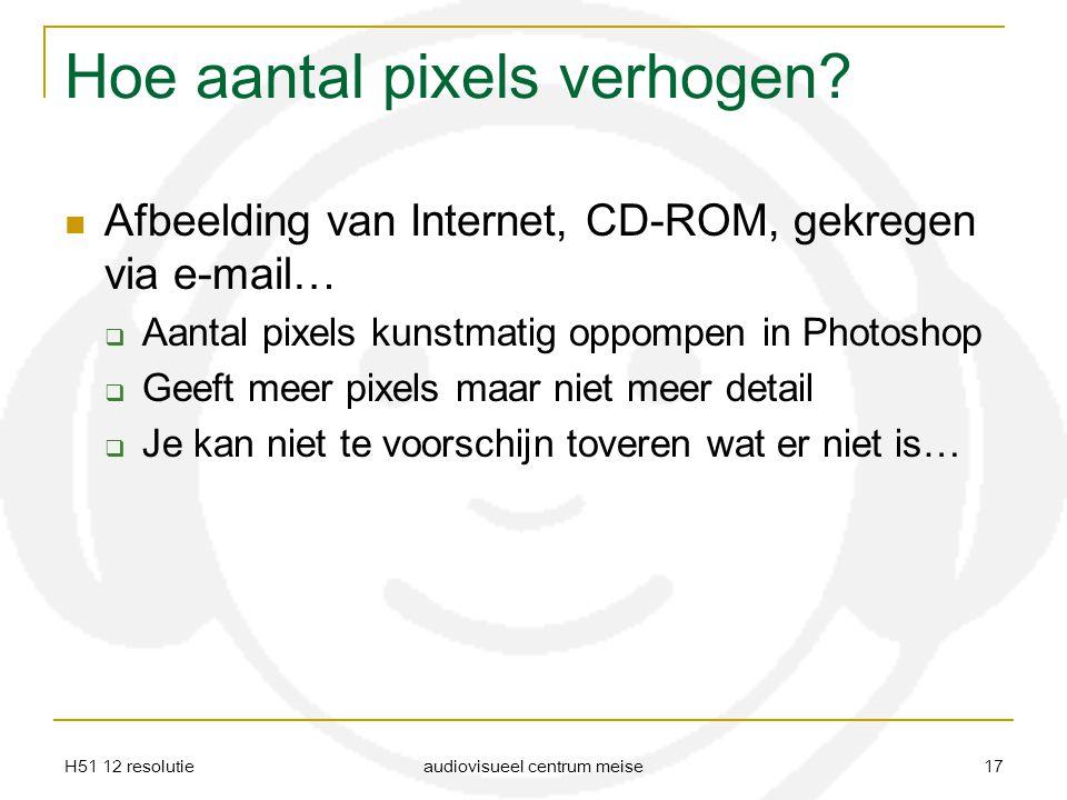 H51 12 resolutie audiovisueel centrum meise 17 Hoe aantal pixels verhogen? Afbeelding van Internet, CD-ROM, gekregen via e-mail…  Aantal pixels kunst