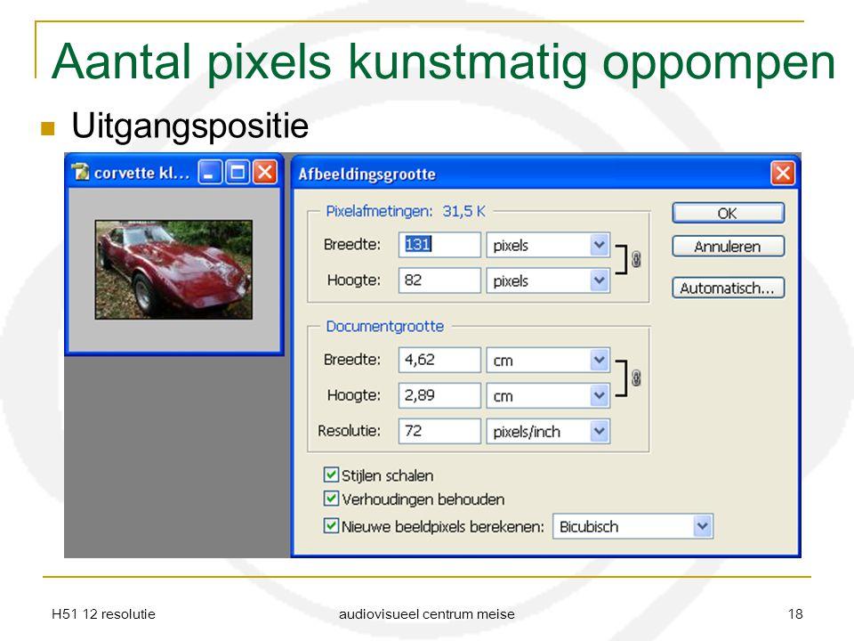 H51 12 resolutie audiovisueel centrum meise 18 Aantal pixels kunstmatig oppompen Uitgangspositie