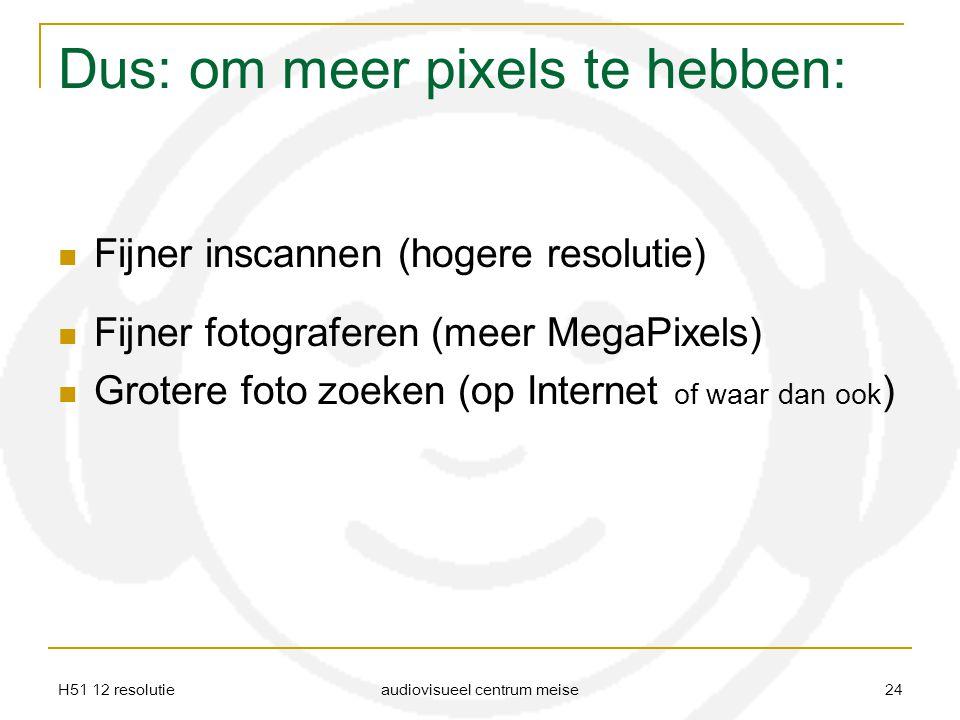 H51 12 resolutie audiovisueel centrum meise 24 Dus: om meer pixels te hebben: Fijner inscannen (hogere resolutie) Fijner fotograferen (meer MegaPixels