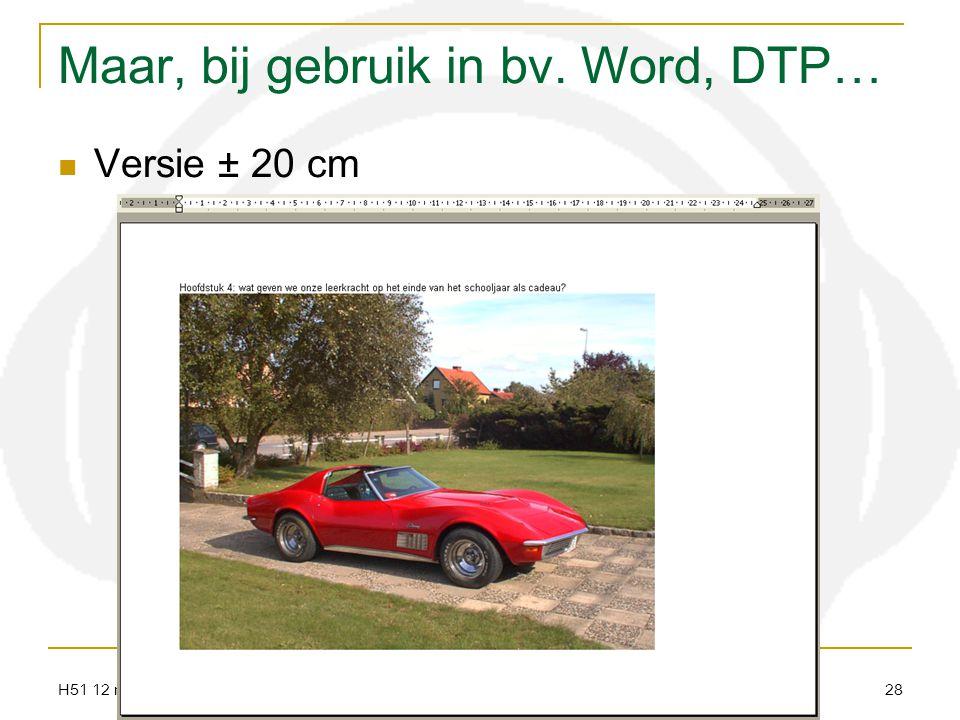 H51 12 resolutie audiovisueel centrum meise 28 Maar, bij gebruik in bv. Word, DTP… Versie ± 20 cm