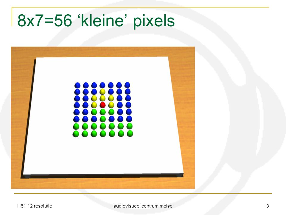 H51 12 resolutie audiovisueel centrum meise 4 Evenveel pixels Verschillende afmetingen en resolutie Een zelfde aantal pixels kan voor een grote of kleine afdruk zorgen.