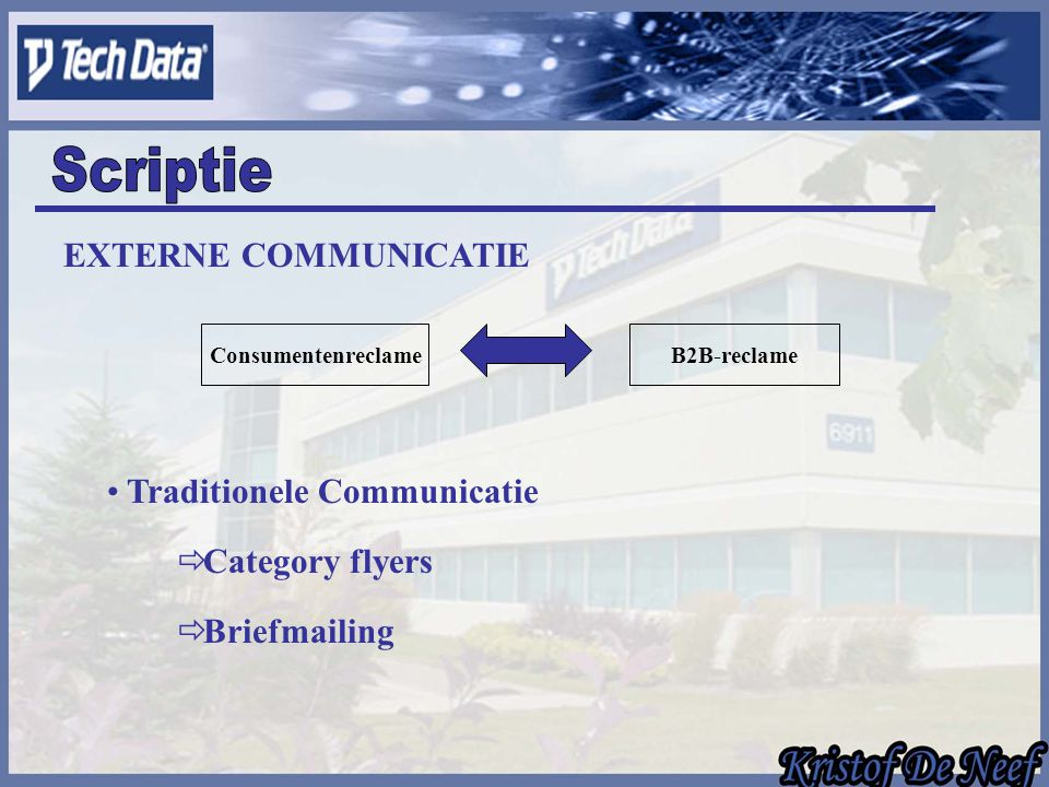 EXTERNE COMMUNICATIE ConsumentenreclameB2B-reclame Traditionele Communicatie  Category flyers  Briefmailing