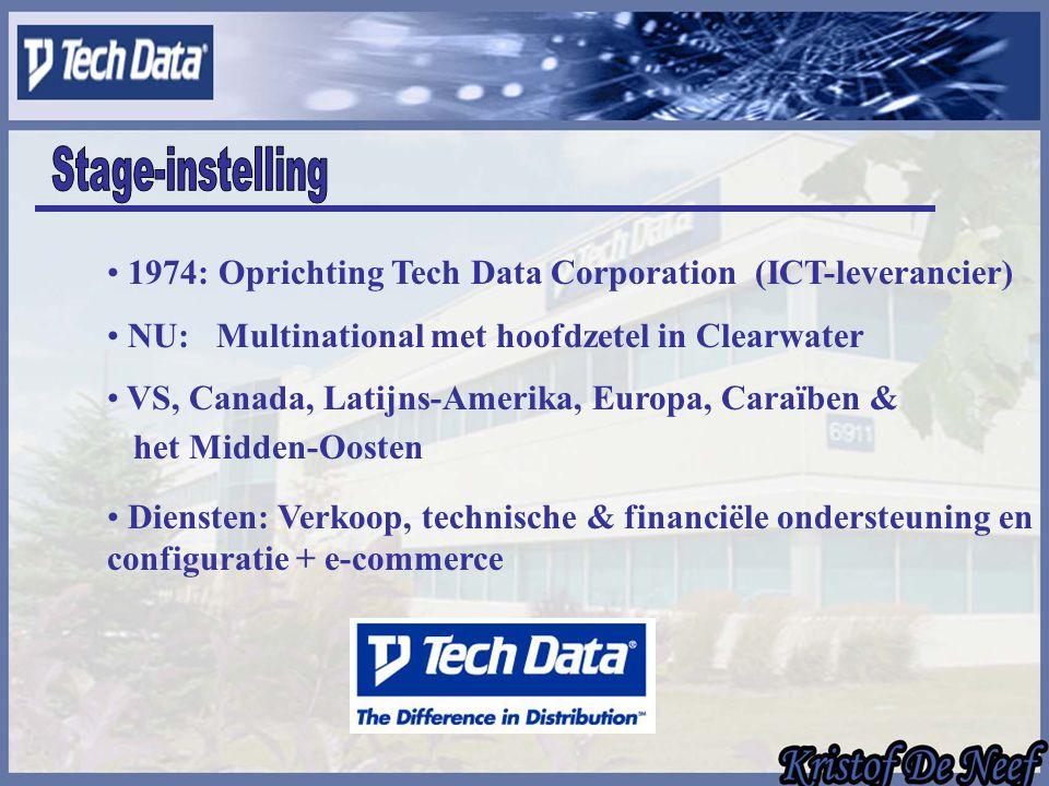 1974: Oprichting Tech Data Corporation (ICT-leverancier) NU: Multinational met hoofdzetel in Clearwater VS, Canada, Latijns-Amerika, Europa, Caraïben & het Midden-Oosten Diensten: Verkoop, technische & financiële ondersteuning en configuratie + e-commerce