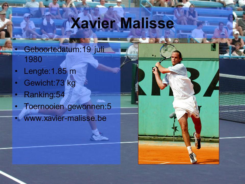 Xavier Malisse Geboortedatum:19 juli 1980 Lengte:1.85 m Gewicht:73 kg Ranking:54 Toernooien gewonnen:5 www.xavier-malisse.be
