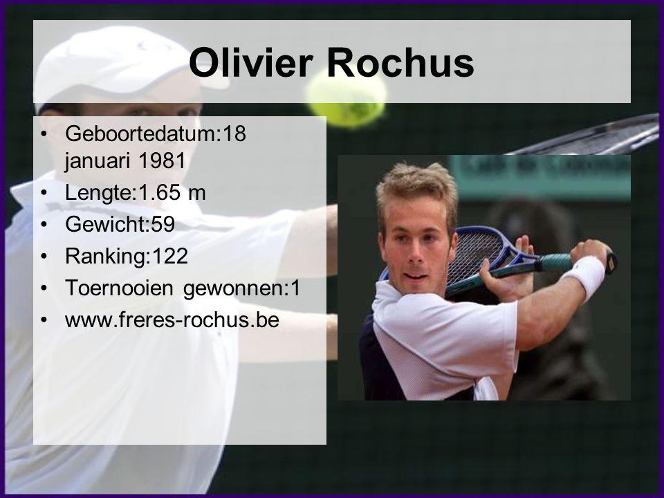 Olivier Rochus Geboortedatum:18 januari 1981 Lengte:1.65 m Gewicht:59 Ranking:122 Toernooien gewonnen:1 www.freres-rochus.be
