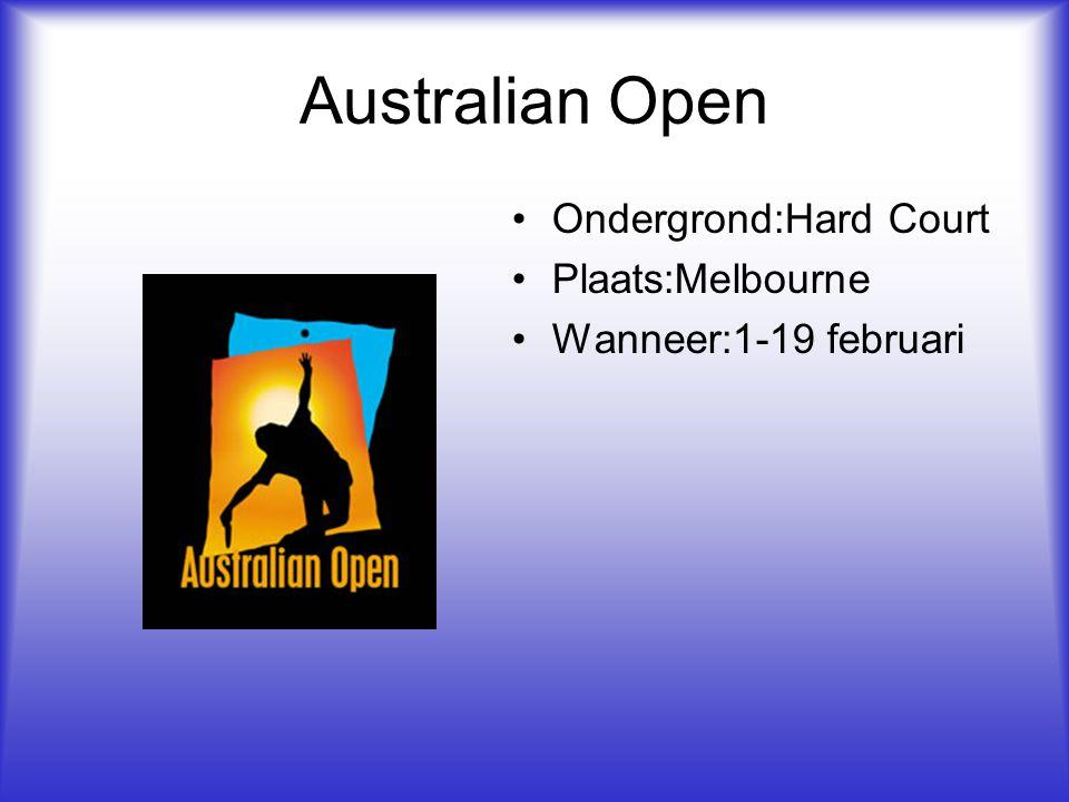 Ondergrond:Hard Court Plaats:Melbourne Wanneer:1-19 februari