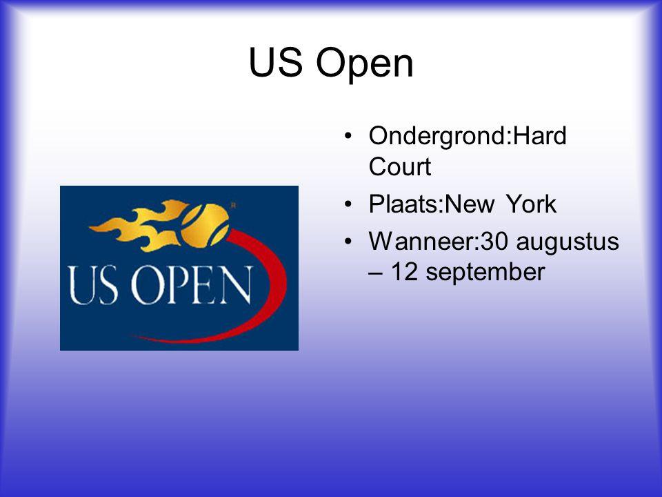 US Open Ondergrond:Hard Court Plaats:New York Wanneer:30 augustus – 12 september