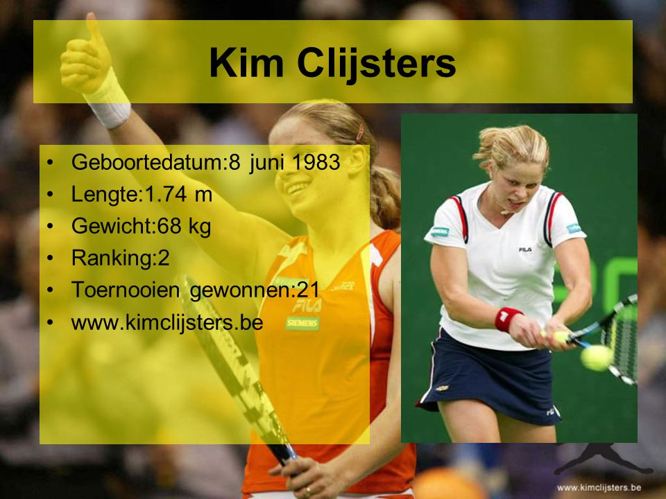 Kirsten Flipkens Geboortedatum:10 januari 1986 Lengte:1.66 m Gewicht:57 kg Ranking:351 Toernooien gewonnen:6 www.kirstenflipkens.be