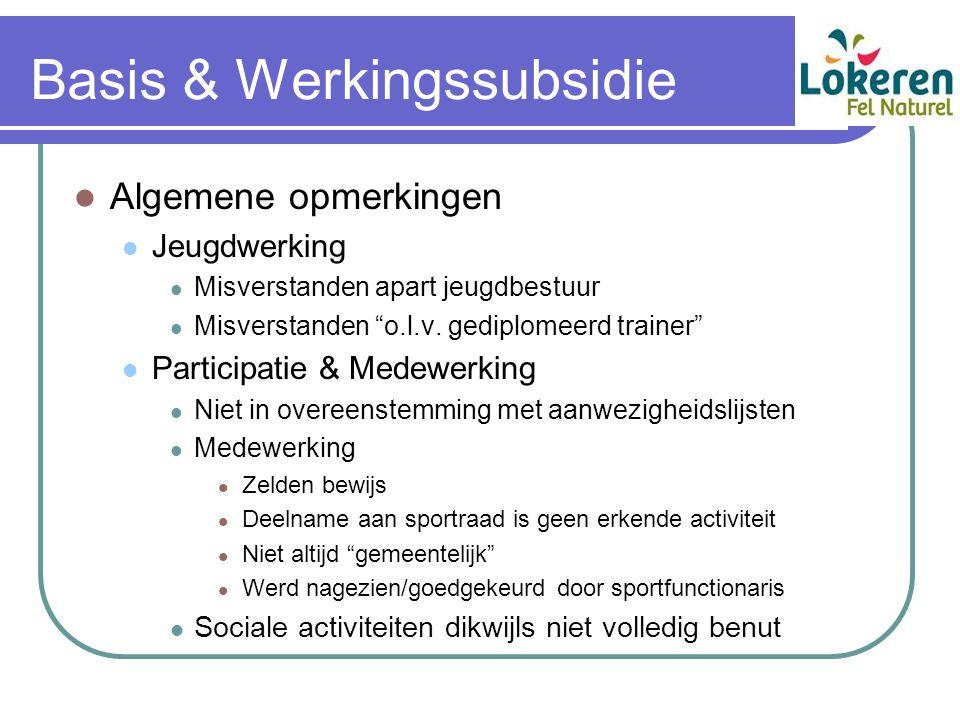 Basis & Werkingssubsidie Algemene opmerkingen Jeugdwerking Misverstanden apart jeugdbestuur Misverstanden o.l.v.
