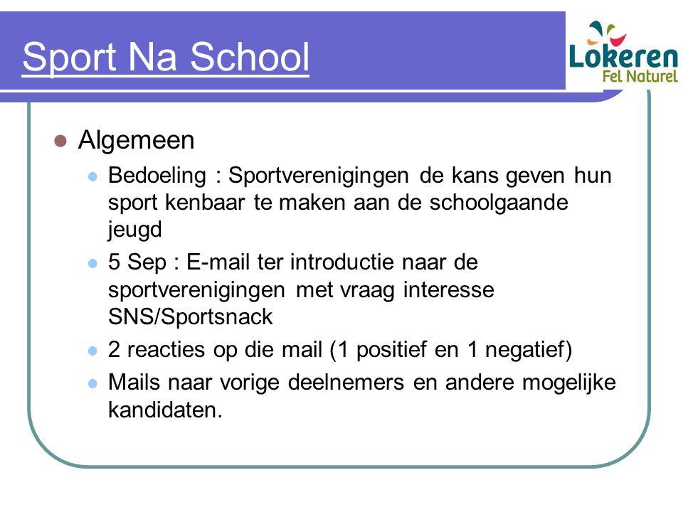Sport Na School Algemeen Bedoeling : Sportverenigingen de kans geven hun sport kenbaar te maken aan de schoolgaande jeugd 5 Sep : E-mail ter introduct