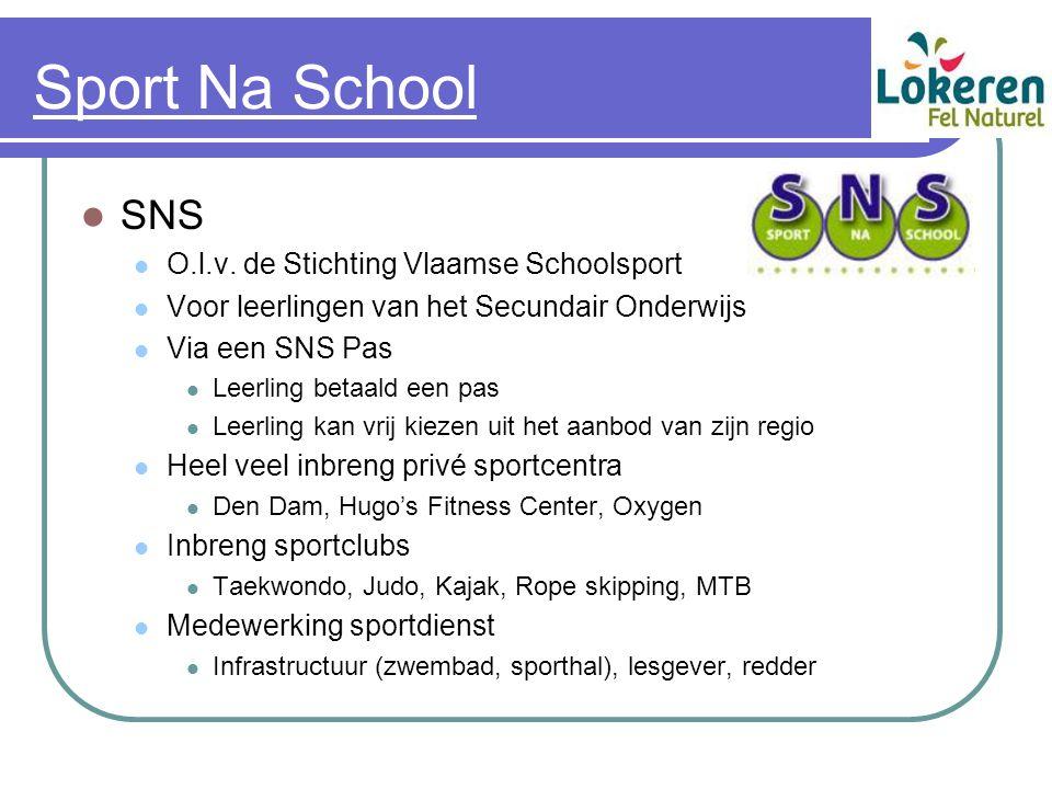 Sport Na School SNS O.l.v. de Stichting Vlaamse Schoolsport Voor leerlingen van het Secundair Onderwijs Via een SNS Pas Leerling betaald een pas Leerl