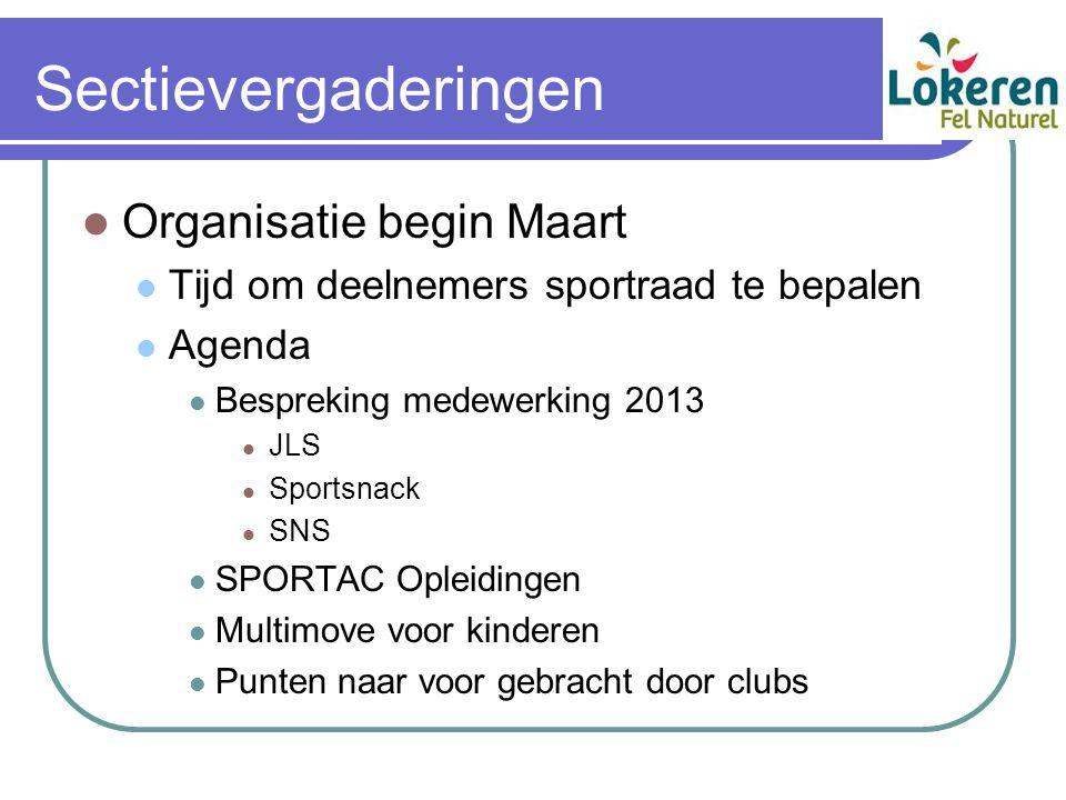 Sectievergaderingen Organisatie begin Maart Tijd om deelnemers sportraad te bepalen Agenda Bespreking medewerking 2013 JLS Sportsnack SNS SPORTAC Ople