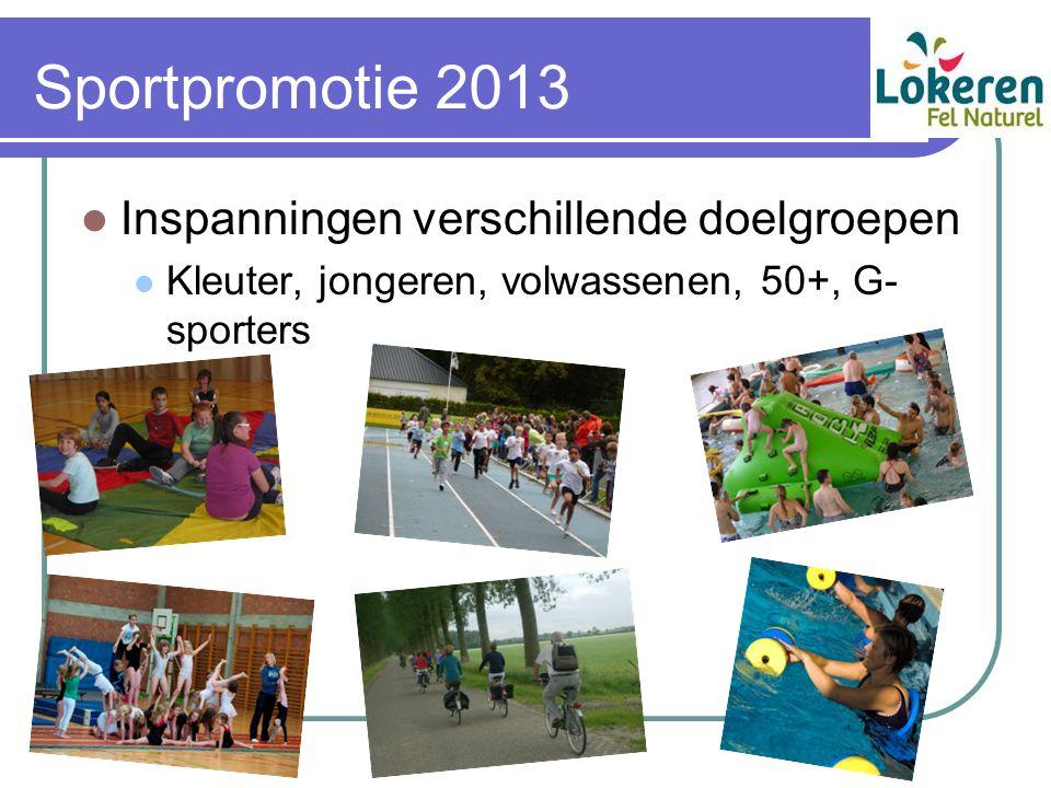 Sportpromotie 2013 Inspanningen verschillende doelgroepen Kleuter, jongeren, volwassenen, 50+, G- sporters