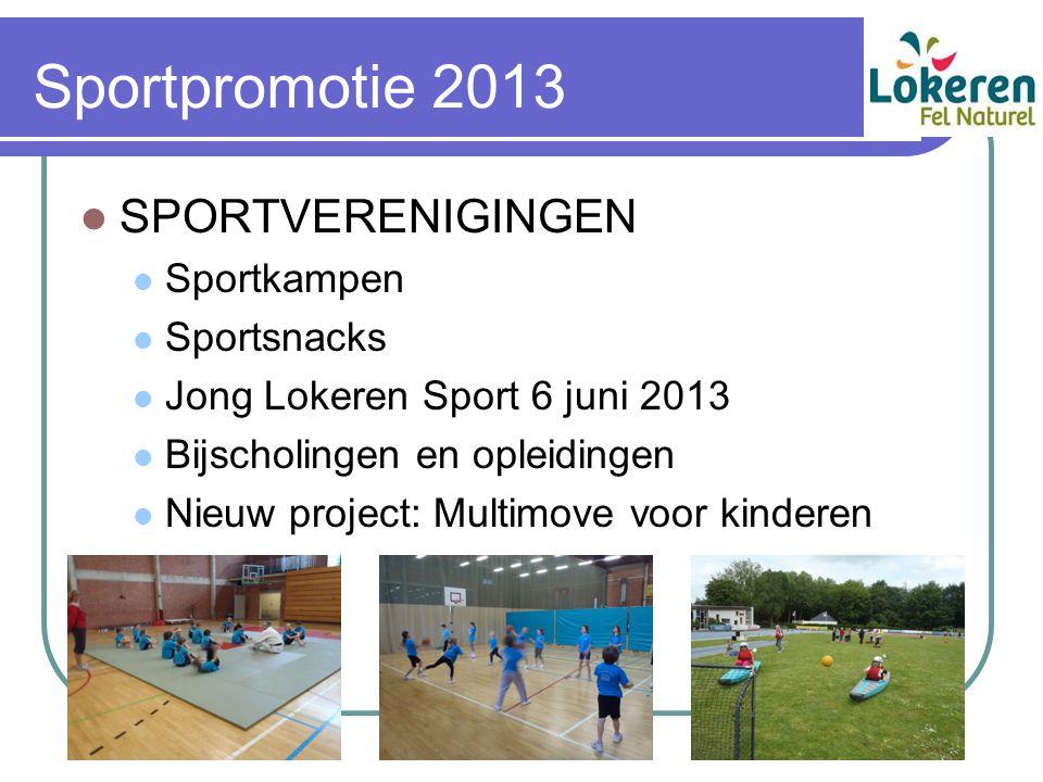 Sportpromotie 2013 SPORTVERENIGINGEN Sportkampen Sportsnacks Jong Lokeren Sport 6 juni 2013 Bijscholingen en opleidingen Nieuw project: Multimove voor