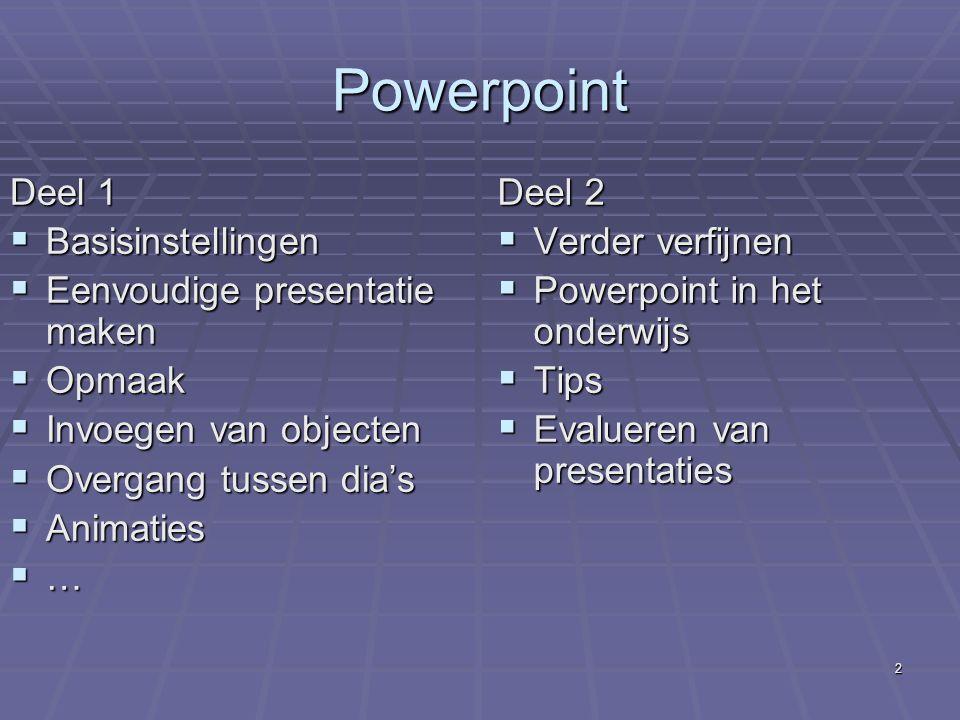Christ Bosmans 1 Powerpoint in de les WelkomInleiding