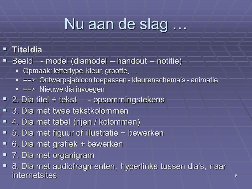 8 Weergave  Normaal (==> onderdelen)  Diasorteerder  Notitiepagina  Diavoorstelling  Notitiepagina  Diamodel
