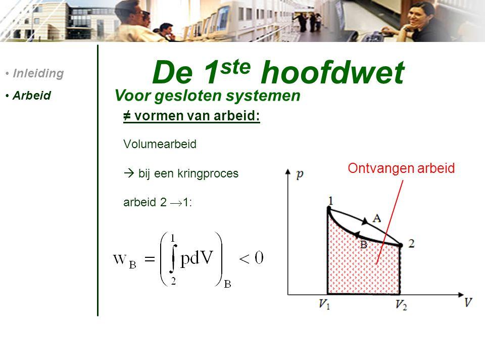 De 1 ste hoofdwet ≠ vormen van arbeid: Volumearbeid  bij een kringproces arbeid 2  1: Inleiding Arbeid Voor gesloten systemen Ontvangen arbeid