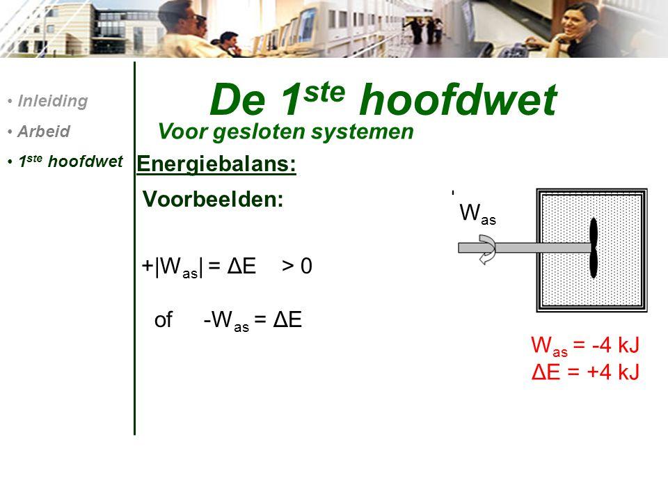 De 1 ste hoofdwet Energiebalans: Voorbeelden: +|W as | = ΔE > 0 of -W as = ΔE Voor gesloten systemen Inleiding Arbeid 1 ste hoofdwet W as = -4 kJ ΔE =