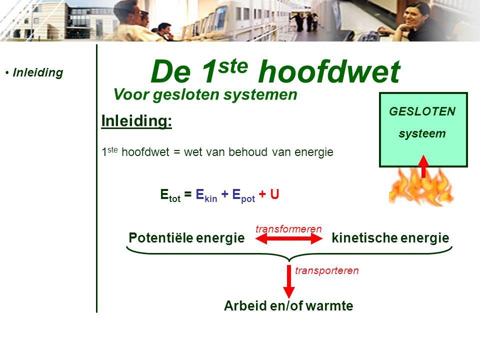 De 1 ste hoofdwet Voor gesloten systemen Inleiding Arbeid 1 ste hoofdwet energievgl'n Vormen van energievergelijkingen: Energietransport  WARMTE (Q of q)  ARBEID (W) stelsel Q+Q+ Q-Q- W-W- W+W+