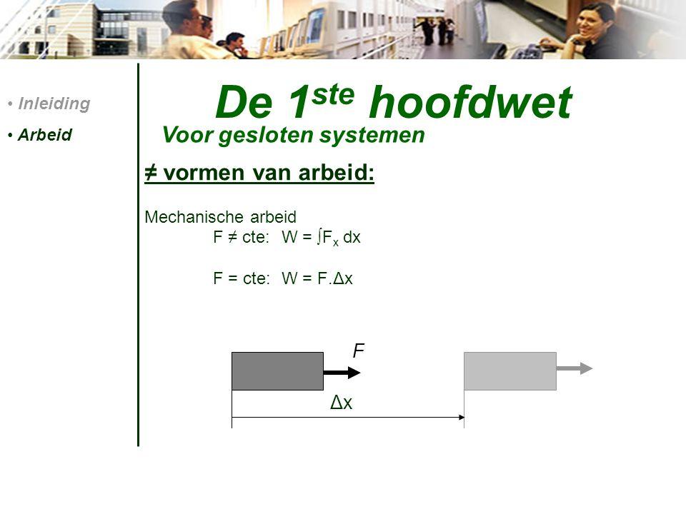 De 1 ste hoofdwet ≠ vormen van arbeid: Mechanische arbeid F ≠ cte:W = ∫F x dx F = cte:W = F.Δx Inleiding Arbeid Voor gesloten systemen F ΔxΔx