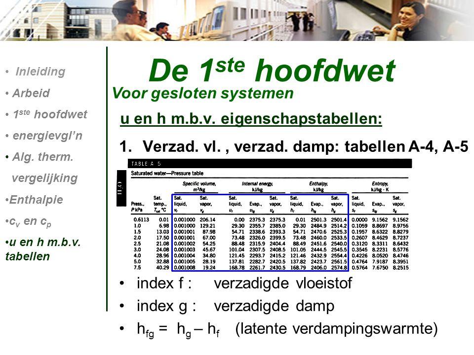 De 1 ste hoofdwet Voor gesloten systemen Inleiding Arbeid 1 ste hoofdwet energievgl'n Alg. therm. vergelijking Enthalpie c v en c p u en h m.b.v. tabe