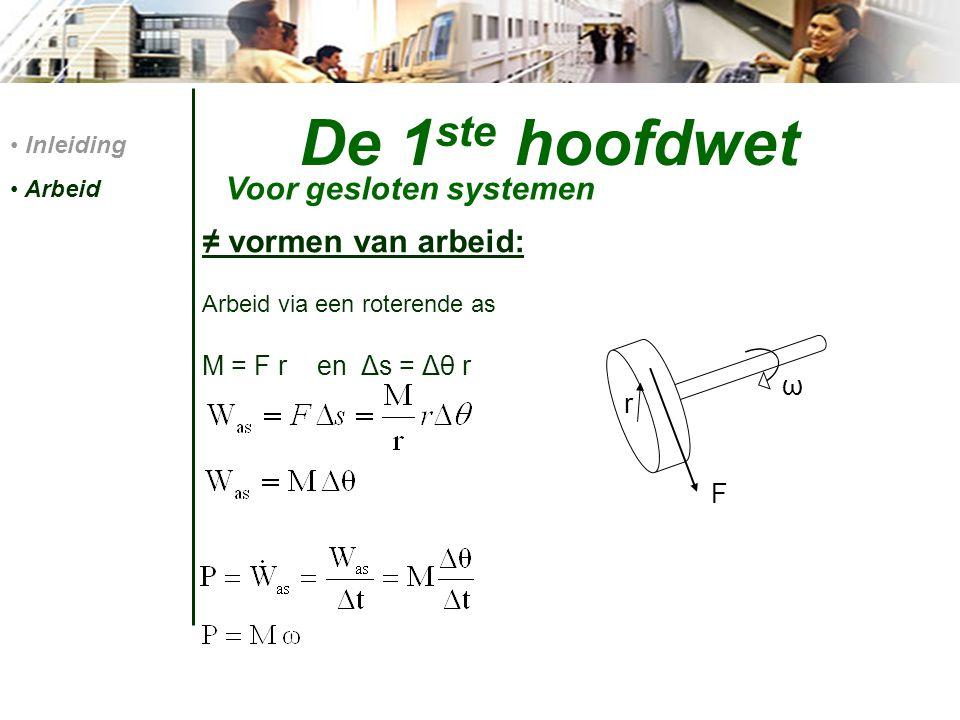 De 1 ste hoofdwet ≠ vormen van arbeid: Arbeid via een roterende as M = F r en Δs = Δθ r Inleiding Arbeid Voor gesloten systemen ω F r