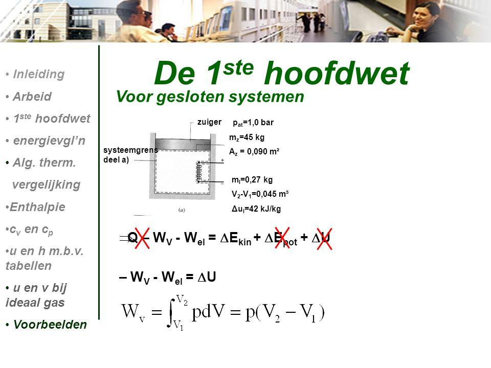  Q – W V - W el =  E kin +  E pot +  U – W V - W el =  U De 1 ste hoofdwet Voor gesloten systemen Inleiding Arbeid 1 ste hoofdwet energievgl'n Al