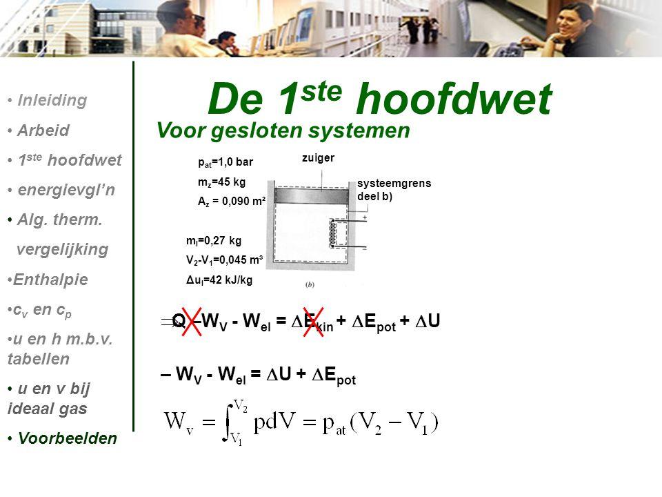 Q –W V - W el =  E kin +  E pot +  U – W V - W el =  U +  E pot De 1 ste hoofdwet Voor gesloten systemen Inleiding Arbeid 1 ste hoofdwet energi