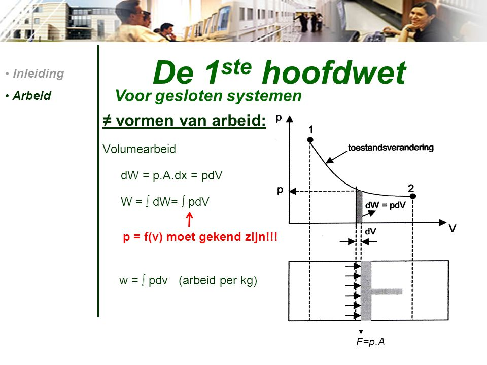 De 1 ste hoofdwet ≠ vormen van arbeid: Volumearbeid dW = p.A.dx = pdV W = ∫ dW= ∫ pdV w = ∫ pdv (arbeid per kg) Inleiding Arbeid Voor gesloten systeme