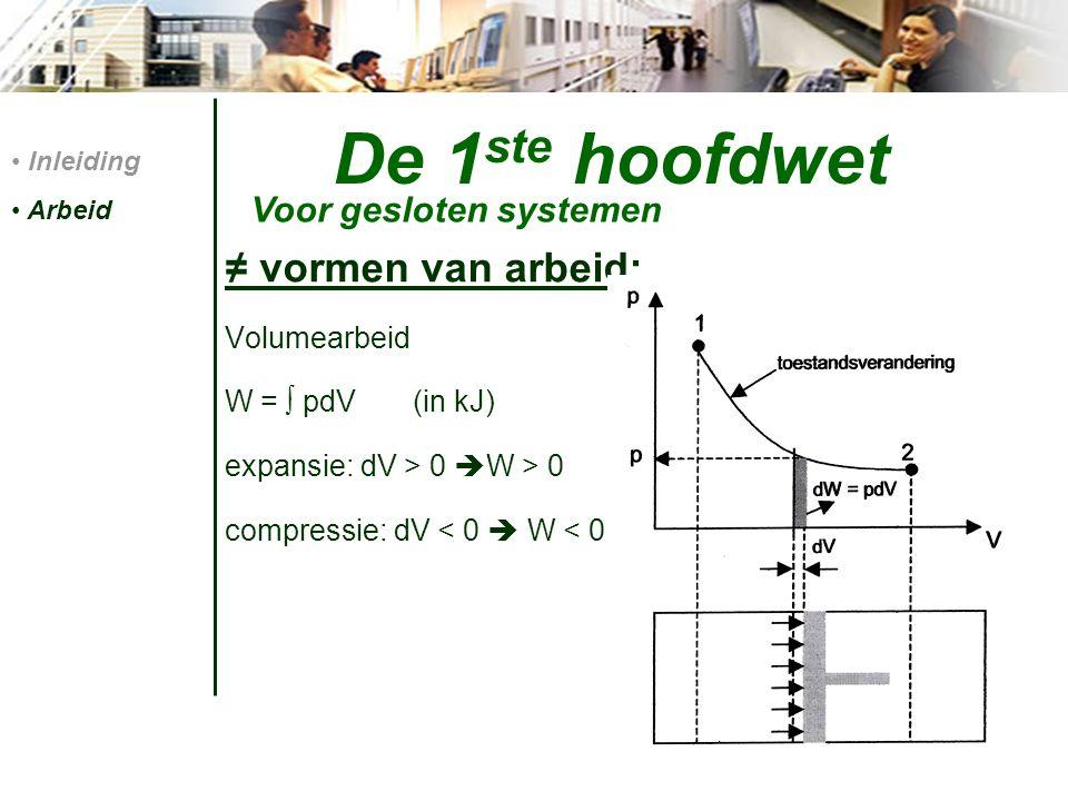 De 1 ste hoofdwet ≠ vormen van arbeid: Volumearbeid W = ∫ pdV (in kJ) expansie: dV > 0  W > 0 compressie: dV < 0  W < 0 Inleiding Arbeid Voor geslot
