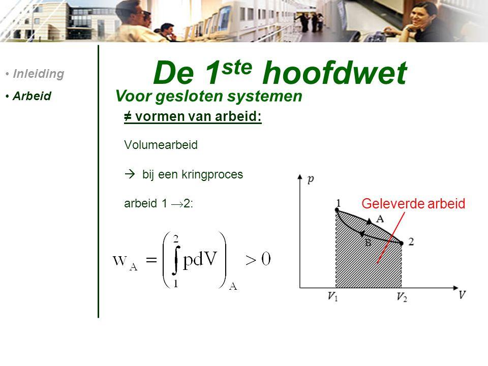 Vormen van energievergelijkingen: ∆E tot = Q - W Differentiaalvorm: De 1 ste hoofdwet Voor gesloten systemen Inleiding Arbeid 1 ste hoofdwet energievgl'n toestandsgrootheid Geen toestandsgrootheid