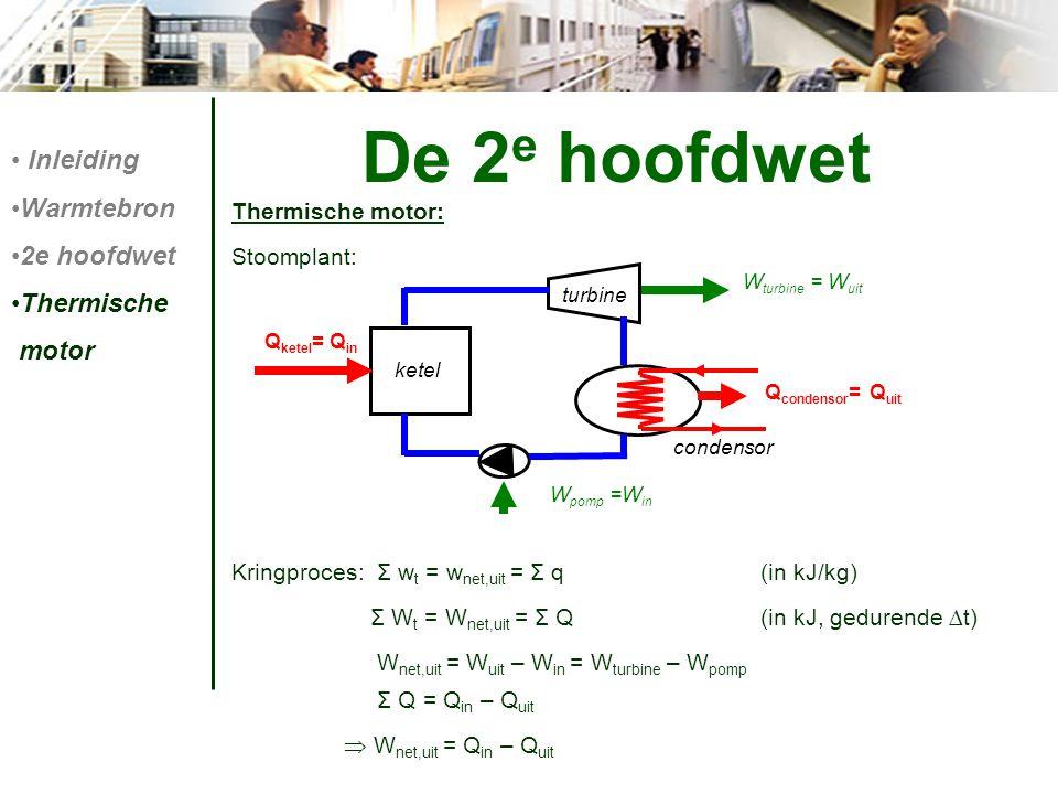 De 2 e hoofdwet Thermische motor: Stoomplant: Kringproces: Σ w t = w net,uit = Σ q (in kJ/kg) Σ W t = W net,uit = Σ Q(in kJ, gedurende ∆t) W net,uit =