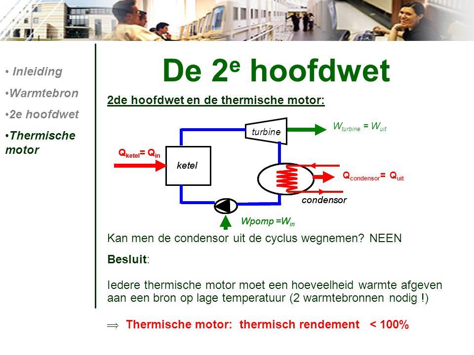 De 2 e hoofdwet 2de hoofdwet en de thermische motor: Kan men de condensor uit de cyclus wegnemen? NEEN Besluit: Iedere thermische motor moet een hoeve