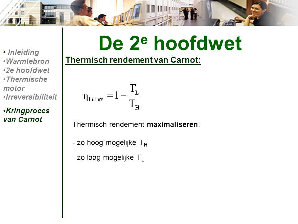 Thermisch rendement van Carnot: De 2 e hoofdwet Inleiding Warmtebron 2e hoofdwet Thermische motor Irreversibiliteit Kringproces van Carnot Thermisch r