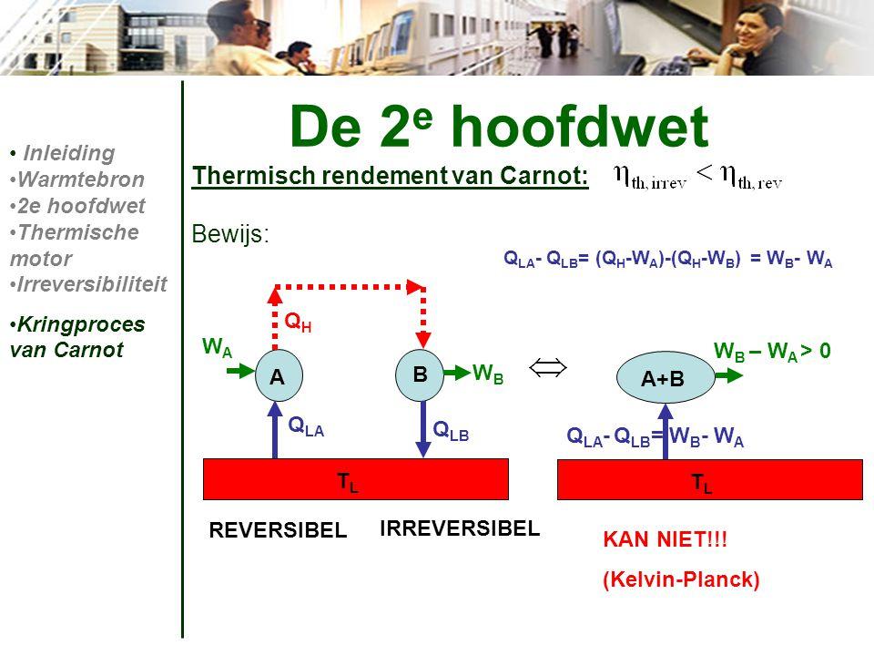 Thermisch rendement van Carnot: Bewijs: De 2 e hoofdwet Inleiding Warmtebron 2e hoofdwet Thermische motor Irreversibiliteit Kringproces van Carnot REV