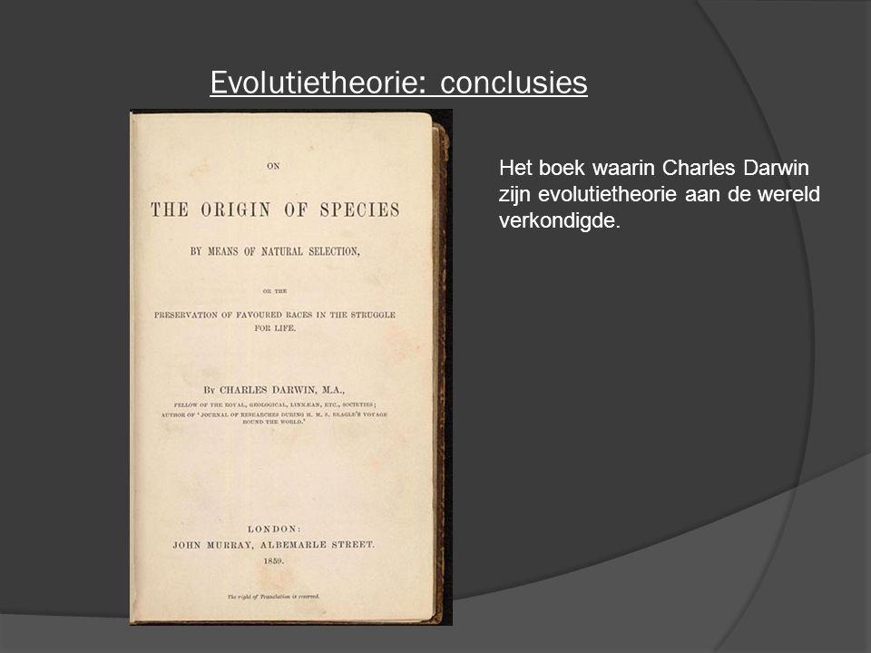 Evolutietheorie: conclusies Het boek waarin Charles Darwin zijn evolutietheorie aan de wereld verkondigde.