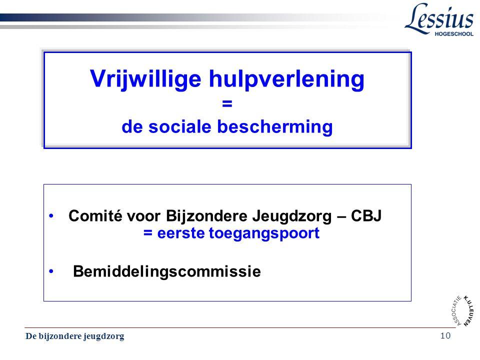 De bijzondere jeugdzorg 10 Vrijwillige hulpverlening = de sociale bescherming Comité voor Bijzondere Jeugdzorg – CBJ = eerste toegangspoort Bemiddelin