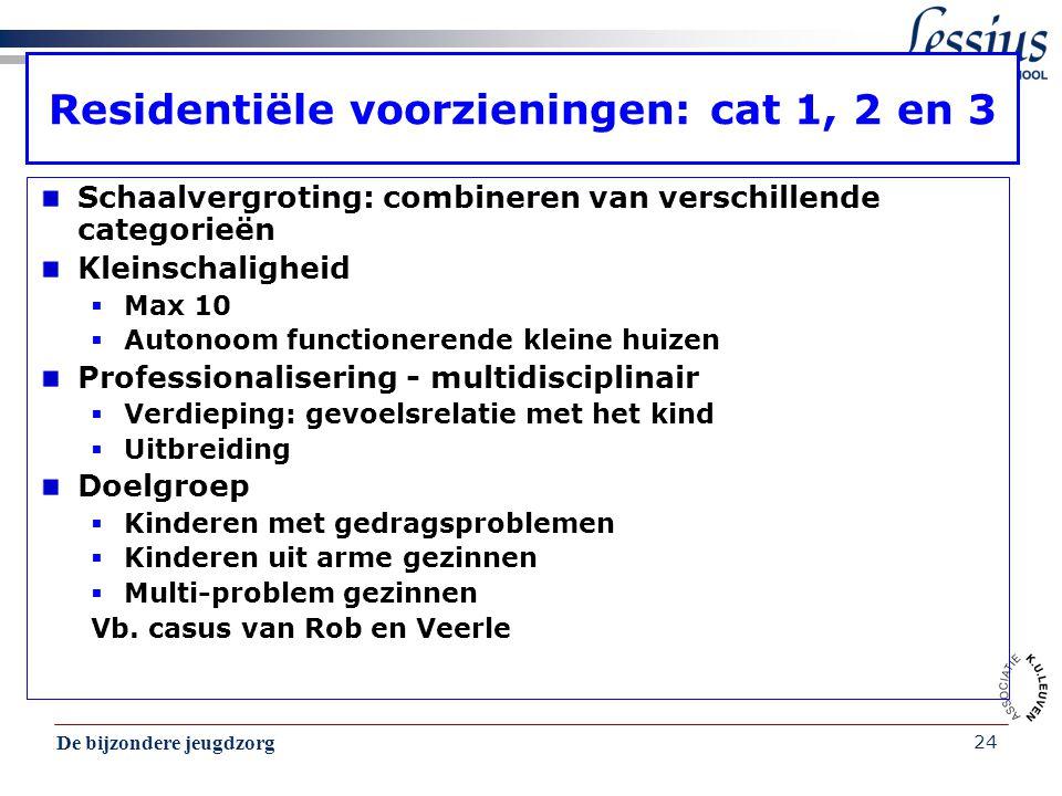 De bijzondere jeugdzorg 24 Residentiële voorzieningen: cat 1, 2 en 3 Schaalvergroting: combineren van verschillende categorieën Kleinschaligheid  Max