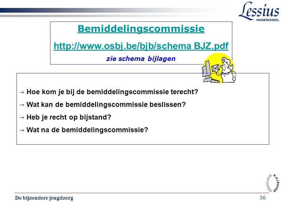 De bijzondere jeugdzorg 36 Bemiddelingscommissie http://www.osbj.be/bjb/schema BJZ.pdf zie schema bijlagen → Hoe kom je bij de bemiddelingscommissie t