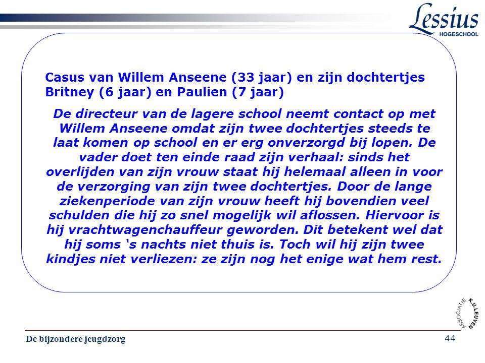 De bijzondere jeugdzorg 44 Casus van Willem Anseene (33 jaar) en zijn dochtertjes Britney (6 jaar) en Paulien (7 jaar) De directeur van de lagere scho