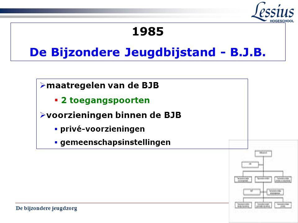De bijzondere jeugdzorg 6 1985 De Bijzondere Jeugdbijstand - B.J.B.  maatregelen van de BJB  2 toegangspoorten  voorzieningen binnen de BJB  privé