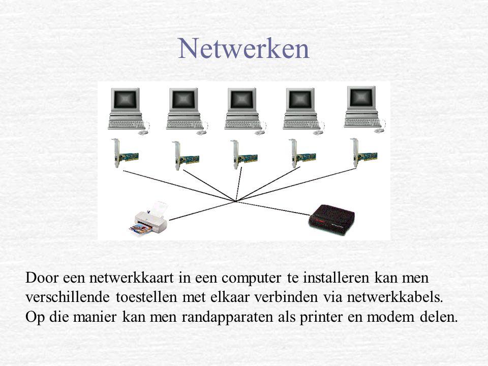 Netwerken Door een netwerkkaart in een computer te installeren kan men verschillende toestellen met elkaar verbinden via netwerkkabels. Op die manier
