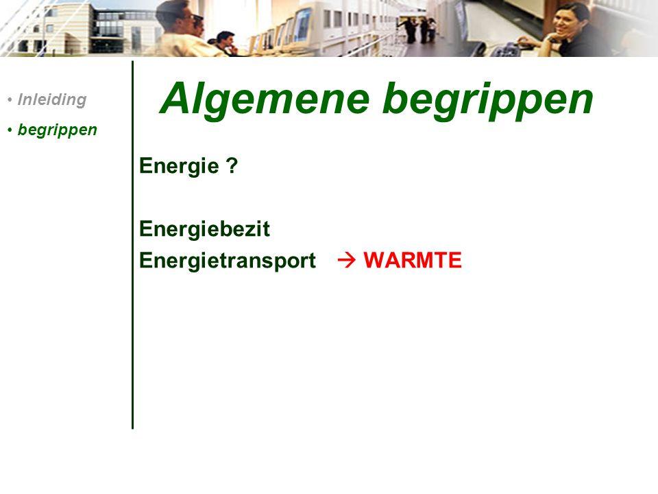 Algemene begrippen Energie ? Energiebezit Energietransport  WARMTE Inleiding begrippen