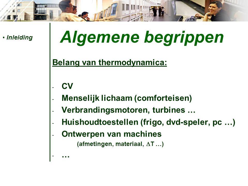 Algemene begrippen Belang van thermodynamica: - CV - Menselijk lichaam (comforteisen) - Verbrandingsmotoren, turbines … - Huishoudtoestellen (frigo, dvd-speler, pc …) - Ontwerpen van machines (afmetingen, materiaal,  T …) -…-… Inleiding