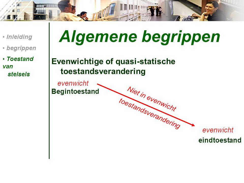 Algemene begrippen Evenwichtige of quasi-statische toestandsverandering Begintoestand eindtoestand Inleiding begrippen Toestand van stelsels Niet in evenwicht evenwicht toestandsverandering