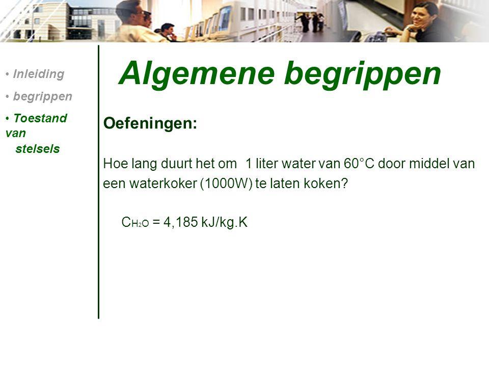 Algemene begrippen Oefeningen: Hoe lang duurt het om 1 liter water van 60°C door middel van een waterkoker (1000W) te laten koken.