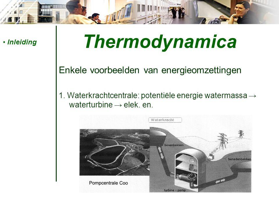 Thermodynamica Enkele voorbeelden van energieomzettingen 2.