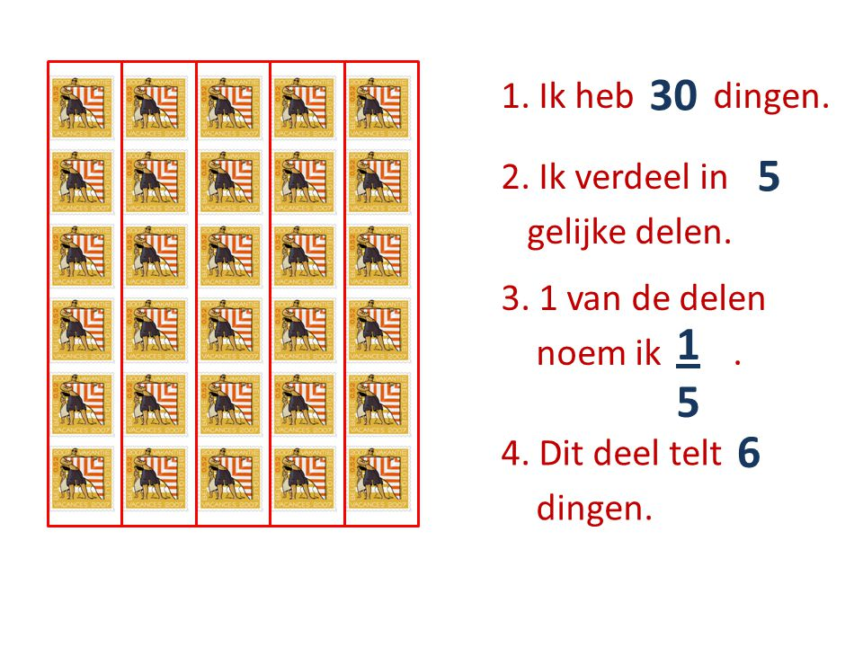 1. Ik heb …… dingen. 30 2. Ik verdeel in ….. gelijke delen. 5 3. 1 van de delen noem ik …... 1515 4. Dit deel telt ….. dingen. 6