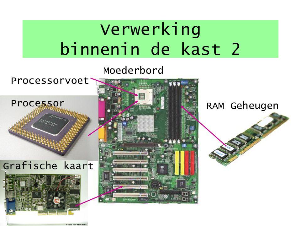 Verwerking binnenin de kast 1 CVE Moederbord - Processor Halfgeleider geheugen - RAM - ROM - CACHE Schijfgeheugen -Floppy disk -Harde schijf -CD-ROM/D